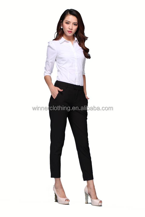 Lady fashion blouse office uniform designs for women pants for Office design uniform