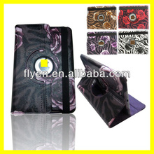 For iPad Mini 360 Degree Rotating PU Leather Case Cover w Swivel Stand+Pen black