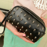 Women New Fashion PU Leather Rivet Mini Messenger Bags Little Handbag, Rivet Day Clutches, Wallet 7597