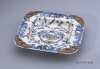 Vintage Blue & White Porcelain Bronze Ash Tray, Home Decorative Square Porcelain With Brass Ashtray