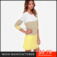 MGOO OEM/ODM Cheap Clothes China Pencil Three Quarters Mini Casual Dress For Women Yellow Khaki White Summer Dress