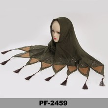 Made in China 2015 Olive color Tassel Turkish wholesale Hijab