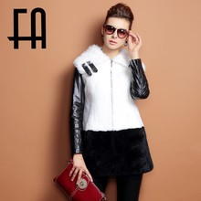 2015 FA high quality rex rabbit fur coat with lamb fur collar and leather sleeves women winter coat fashion 2015