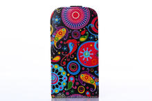 flip leather cover case for Samsung galaxy s4 i9500 with designs, wholesale China