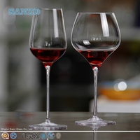 SANZO martini wholesale red colored painted wine glasses green stem clear wine glass