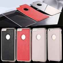 Metal Frame Leather Mirror Back Cover Case For iPhone 6 & 6 Plus, For iPhone6 Case