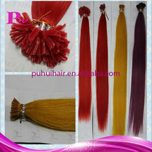 flat tip prebonded keratin hair extension, colored red green yellow hair extensions