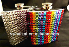 Factory direct sale Stick rhinestone stainless steel hip flask