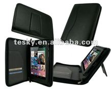 black color PU leather zipper case for google nexus 7 tablet