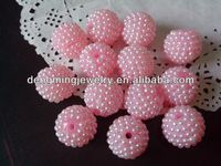 Pale Pink Chunky 20mm AAA Quality Handmade Resin pearl Rhinestone Ballbeads for Chunky Bead Necklace Wholesales