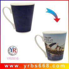 hot sale colored mug, cheap colored cup with unique handle, cup mugs wholesale