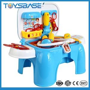 Alta calidad juegos de rol juego de plástico silla de doble uso kit médico del juguete para los niños