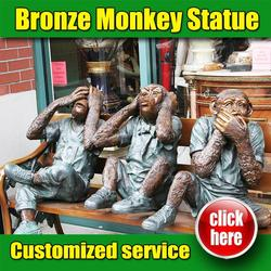 Hot sale bronze Monkey on bench made in China
