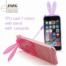 New products TPU Rabitt case with lanyards with stand for apple iphone 6 ,for apple iphone 6 case with 7 colors