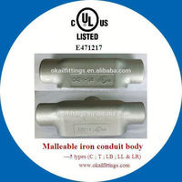 """UL listed malleable conduit outlet body T type 1/2""""--4"""""""