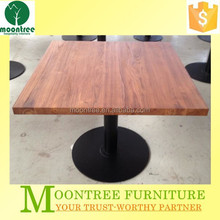 MDT-1147 Top Quality Square Teak Solid Wood Metal Base Dining Table
