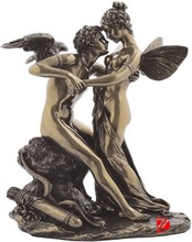 Bronze boy and girl garden statue nude figures for decoration