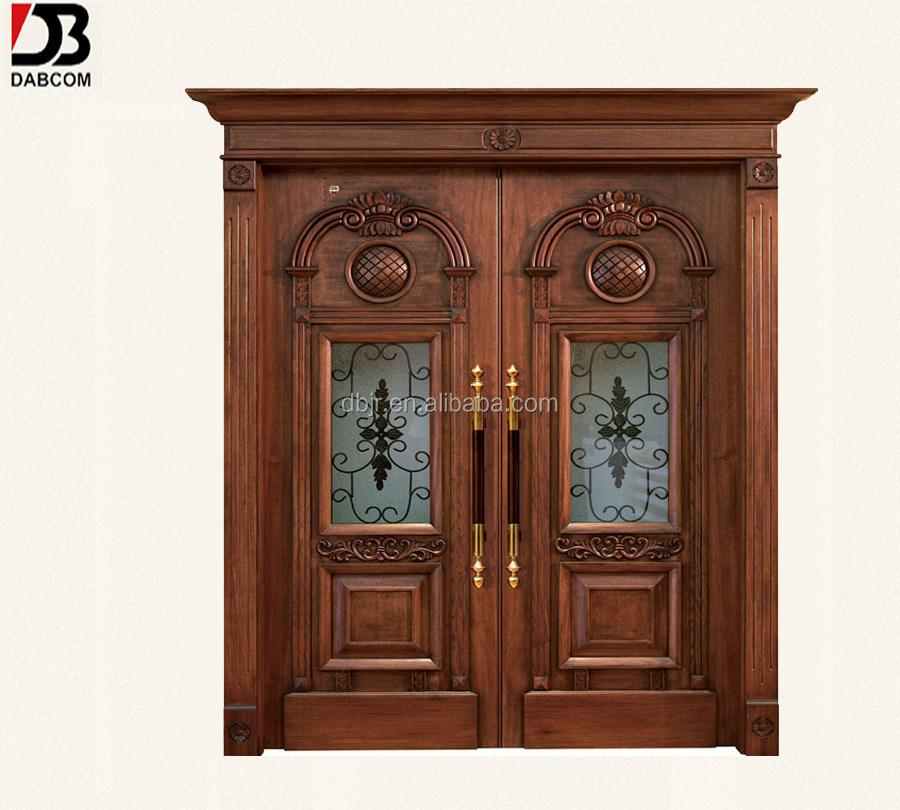 Antique double wood front doors design buy wooden double for Order front door