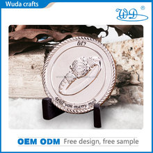 Wholesale 2D pop out two sided logo anniversary jewelry accessory stainless steel engraved special edges silver challenge coins