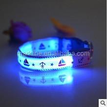 Pet Dog Collar Night Safety LED Light-up Flashing Glow in the Dark Lighted Dog sailor pattern Collars