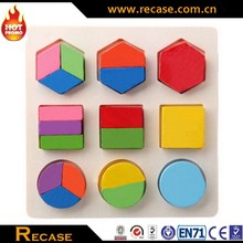 Jigsaw shape color wooden puzzle toy