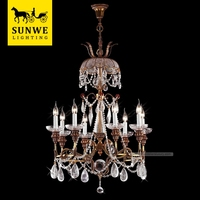 Classic Led 8 Lights church Candle Bronze crystal import company chandeliers