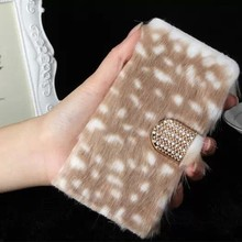 Luxury Bling Crystal Fox Rabbit Fur PU Leather Case For Apple iPhone 6
