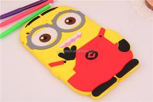 Fashion Colorful cartoon 3d Soft silicon Case for ipad 2 3 4, for ipad 2 3 4 rubber case minion
