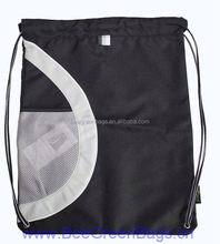 Promotional Polyester drawstring sports sack With Mesh Pocket