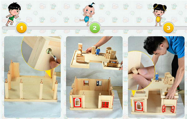 Wholesale Child Wooden Doll House Happy Kid Toy