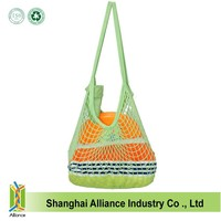 Various colors recycled cotton string mesh shopping bags