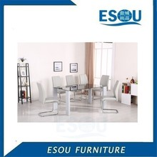 Cheap Tempered Glass Top MDF high gloss Frame Dining Table And 6 Chair Set