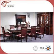 Luxo clássico de madeira conjunto de sala de jantar, Top end mesa de jantar e cadeira