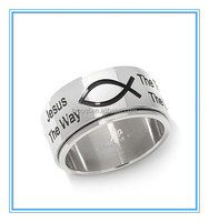 """Life Jewlery Simple Design Stainless Steel """"Fish"""" Scripture Unisex Band Ring"""