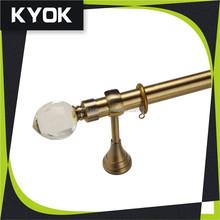 KYOK latest design shower curtain rod curtain accessories, glass peach curtain rod finials, supply 28mm bronze flat curtain pole