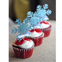 10Pcs/lot Silver Snowflake Cake Flag Toothpick Cupcake Toppers Picks Kids Birthday Event Party Supplies