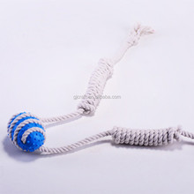 7cm TPR Ball Shaped Dog Chew Toy With Cotton Rope
