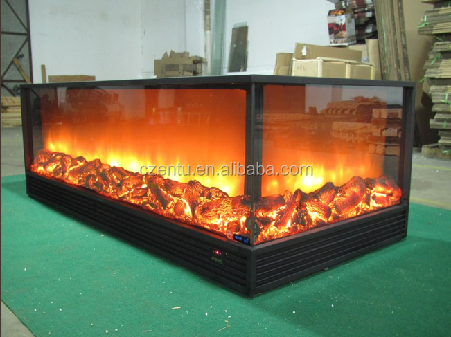 Long 2 Sided Electric Fireplace With Remote Control