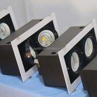 twin grid LED downlight,COB LED,2 heads, 20W x 2, rectangular, tiltable,5000K/4000K/3000K,2860 lumen, 36/60 deg, manufacturer