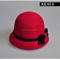 Women wool felt hat, fashion bucket hats, lady church hats with bowknot