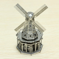 1pc 3D Metal Model Puzzle Toys 3D Model Building Kits Puzzle Solid Jigsaw Puzzle Scale Model Classic Buildings Windmill