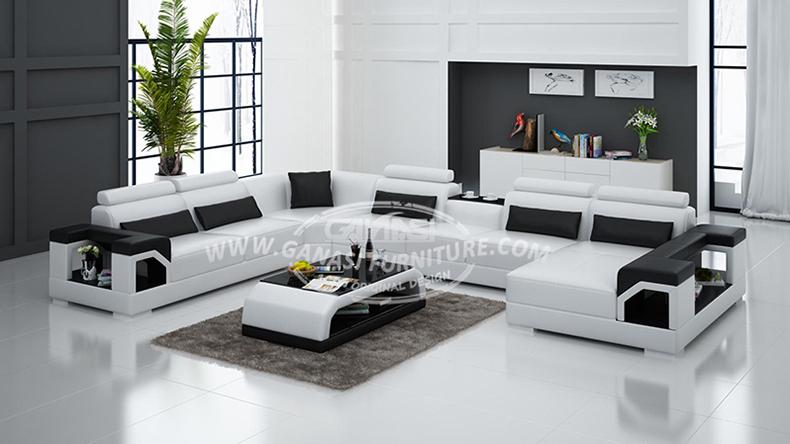 2014 vente chaude moderne grand blanc en forme de u en - Canape en forme de u ...