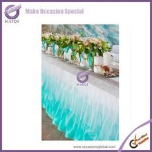 k5564 bule ruffle sea series decorative bridel wedding flower crysatl edges table skirt