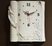 Modern 3d book design resin wall clock for living room