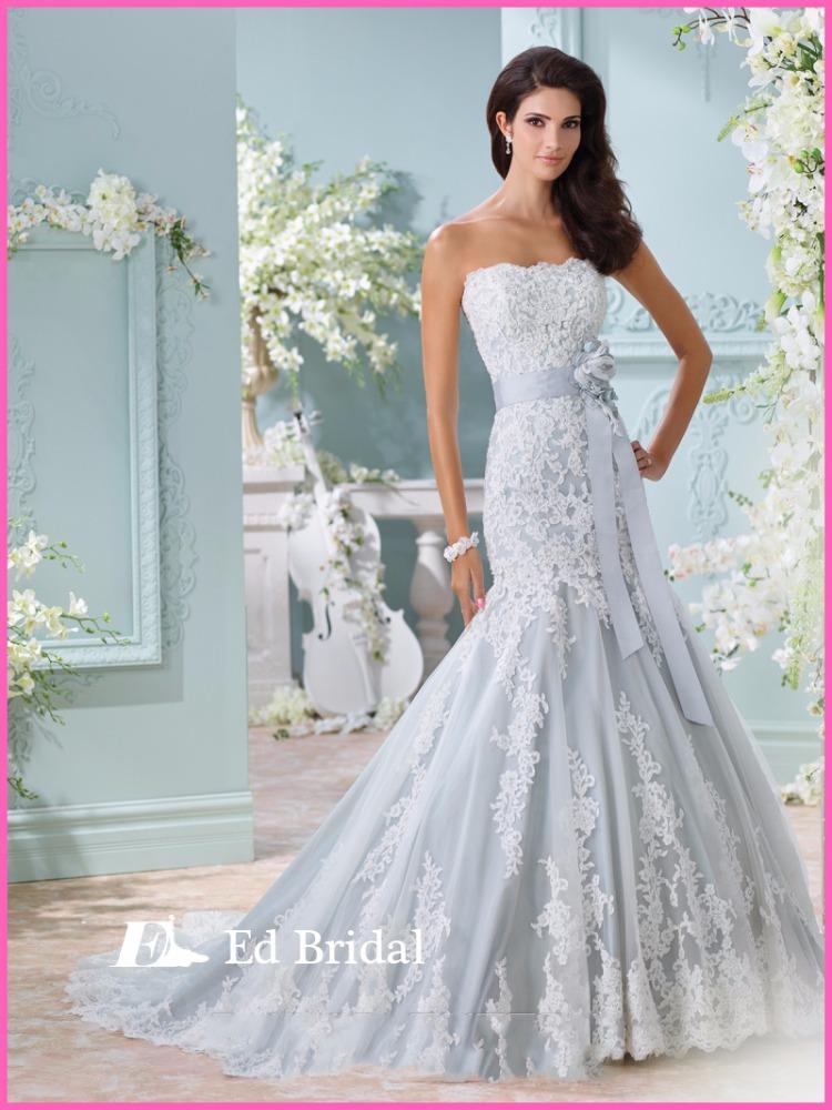Light baby blue wedding dress appliqued low back floor length turkish