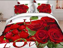 Unique wedding Bedclothes Cotton printed 4pc Bedding set 3d Bed linen king Queen bed sheet sets Duvet/Comforter/Quilt cover sets