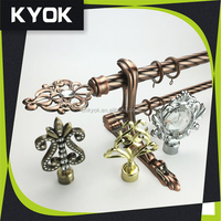 KYOK Silding Smoothly Metal Curtain pole, stainless steel adjustable curtain bracket, curtain eyelet ring