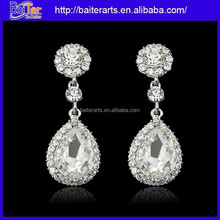 Custom Girl's Cheap Alloy Big Waterdrop White Zircon Earrings