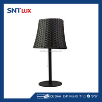 Outdoor desk lamp with rattan lampshade
