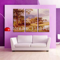 3 piece decor art set classic pastoral scenery golden autumn landscape rural view hand painted Oil Painting on Canvas